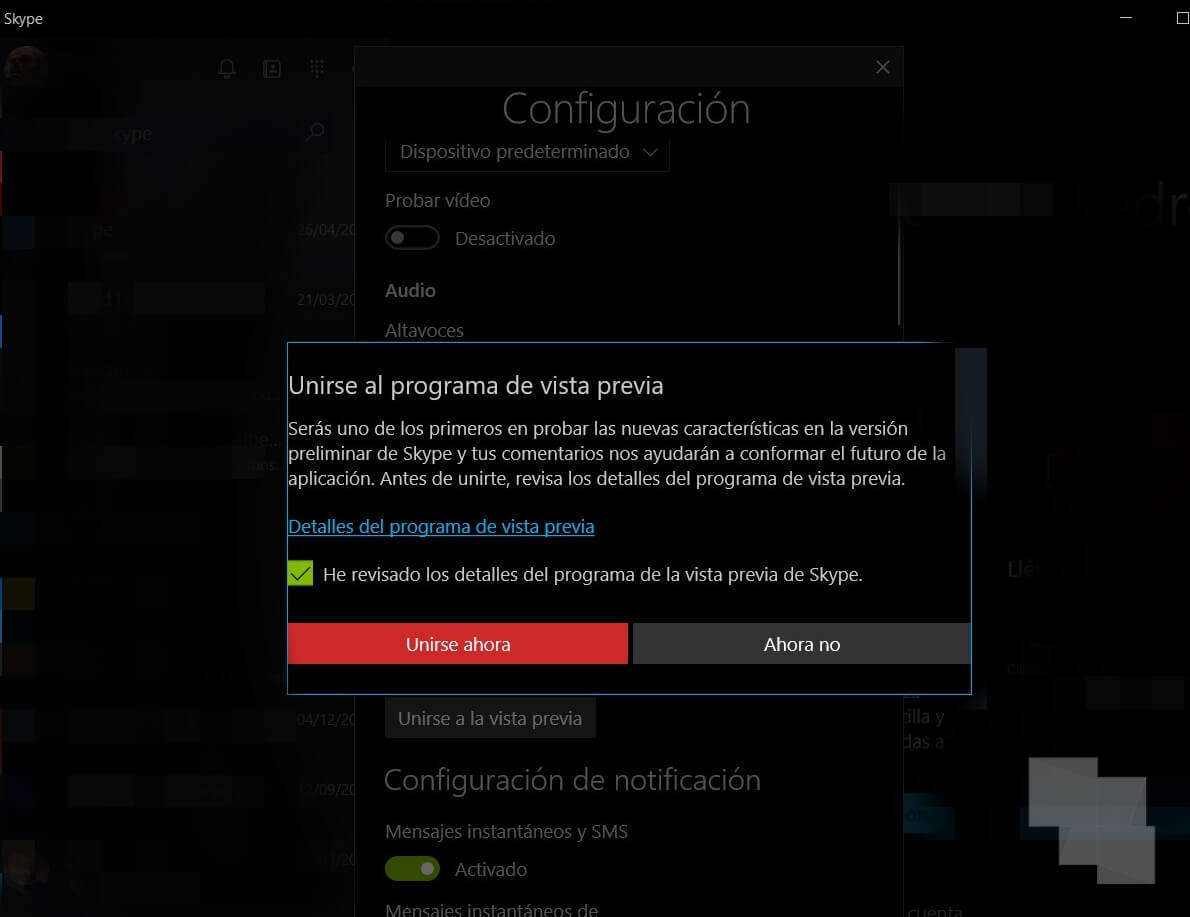 Consigue la nueva versión de Skype para Windows 10