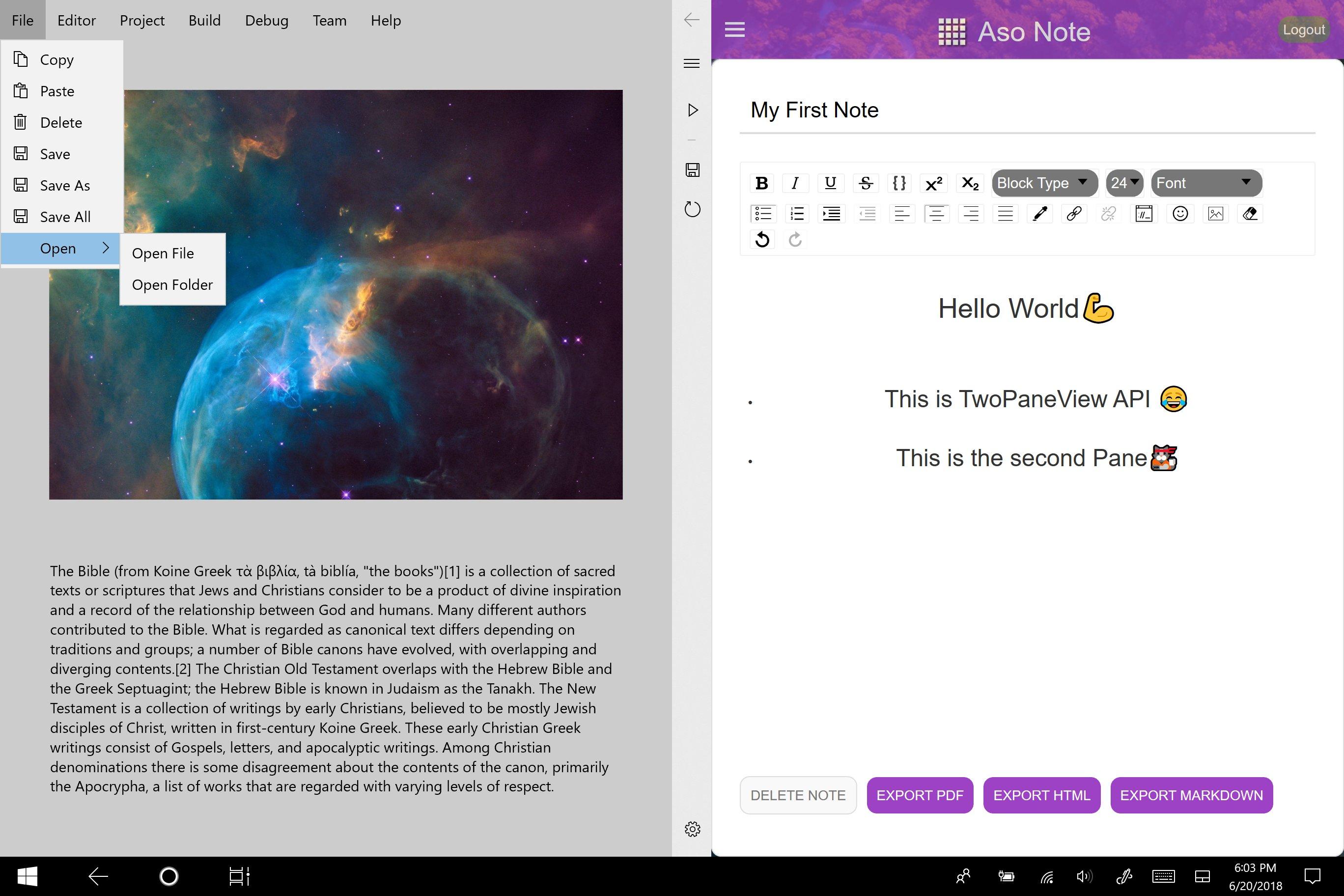 Así se ve una aplicación para Andromeda en un dispositivo de doble pantalla