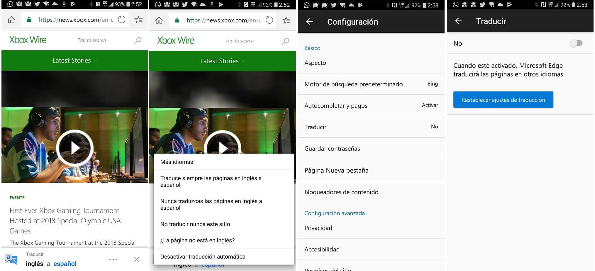Edge ya traduce paginas de figura automáticamente en su beta para Android