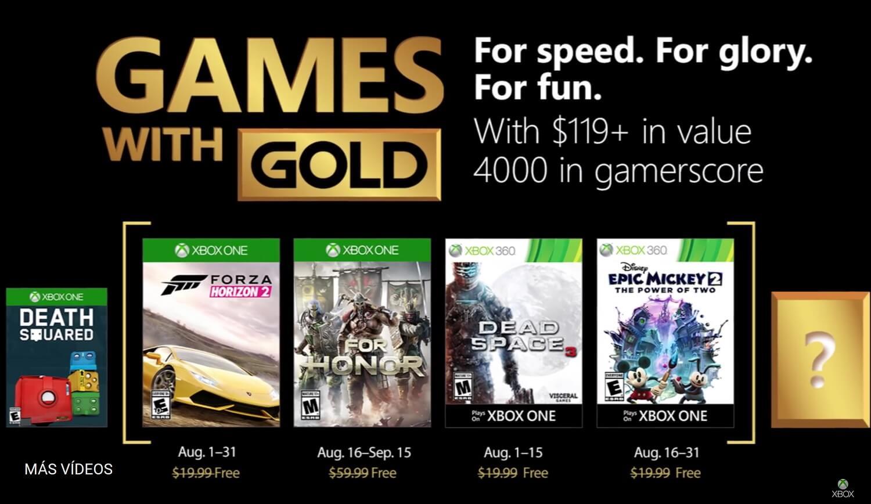 For Honor y Forza Horizon 2 entre los Games with Gold de Agosto