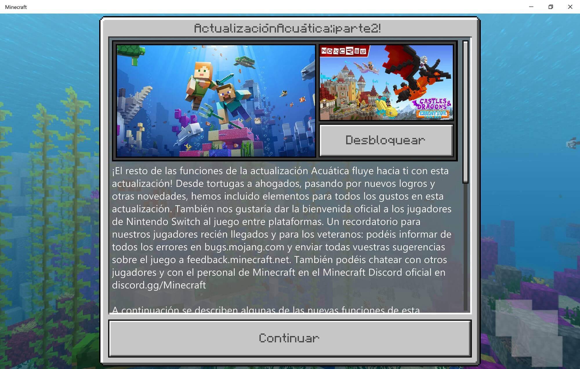 actualización acuática de Minecraft
