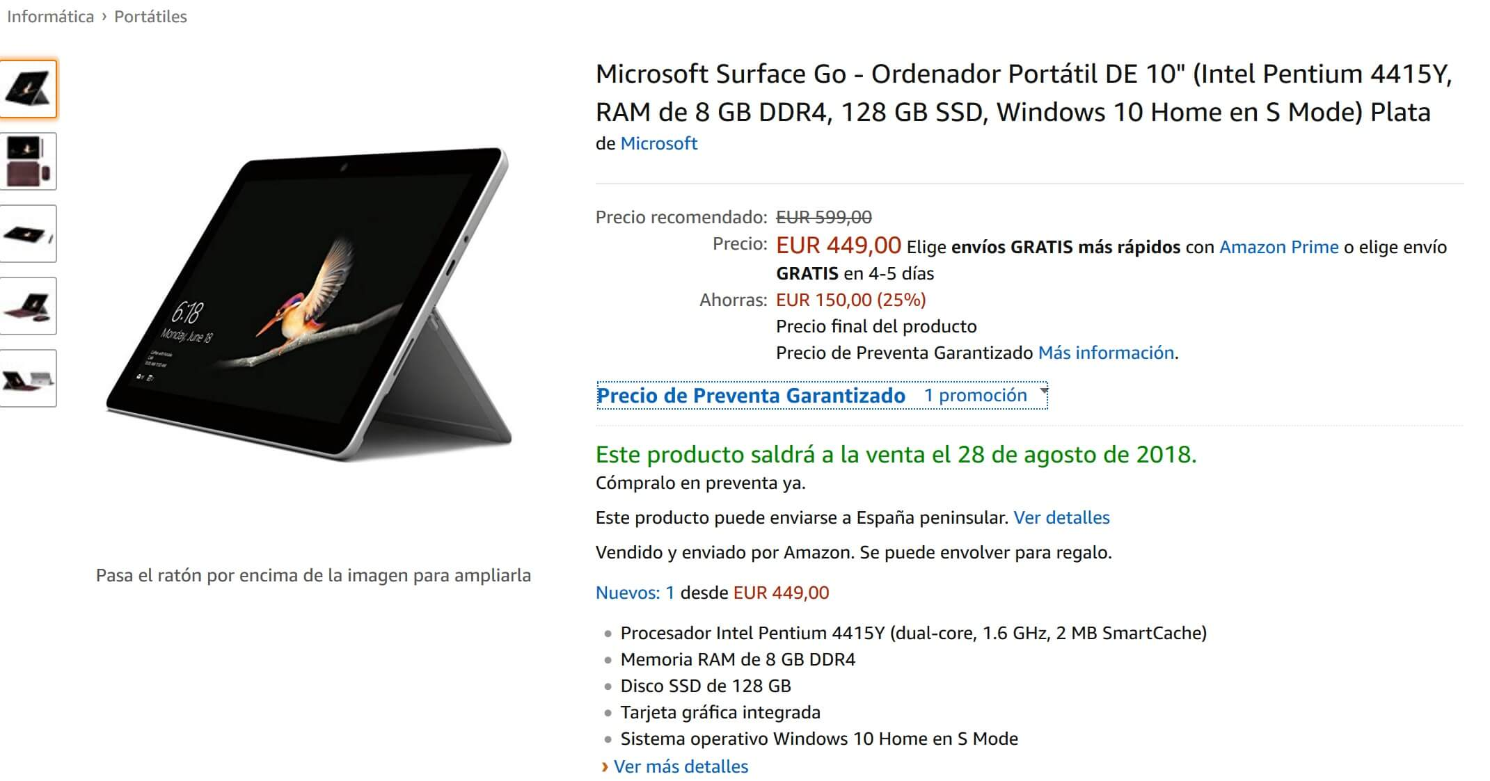 Ahorra 150€ en la compra de tu Surface Go con Amazon España