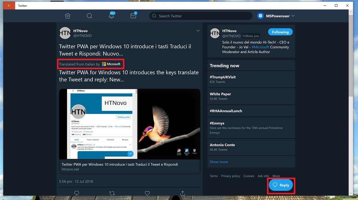 Twitter ya cuenta con traducción de tweets en la PWA para Windows 10