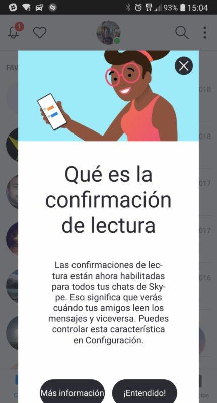 Skype Preview para Android ya cuenta con aviso de lectura de mensajes