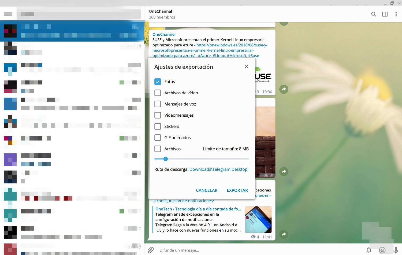 Telegram Desktop ya admite tema nocturno y te permite exportar chats individuales