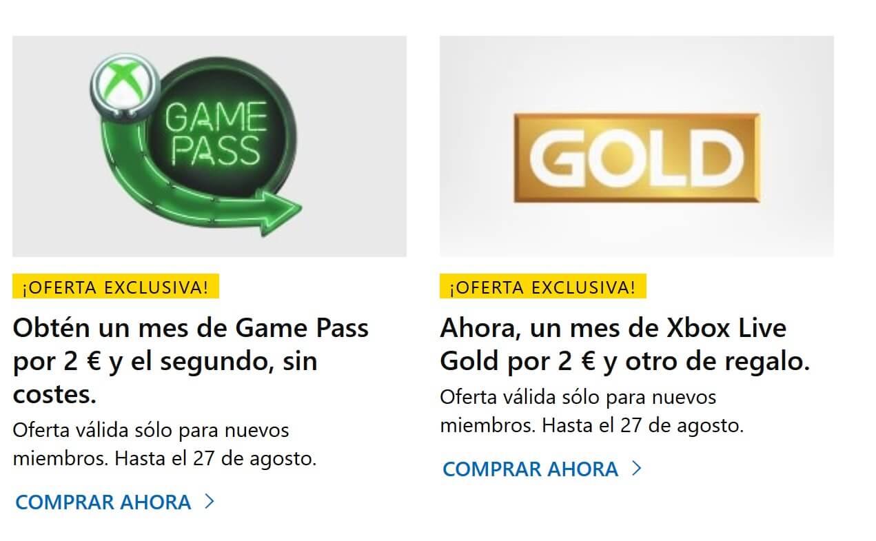Consigue dos meses de suscripción Xbox Game Pass por solo 2€ (También Xbox Live Gold)