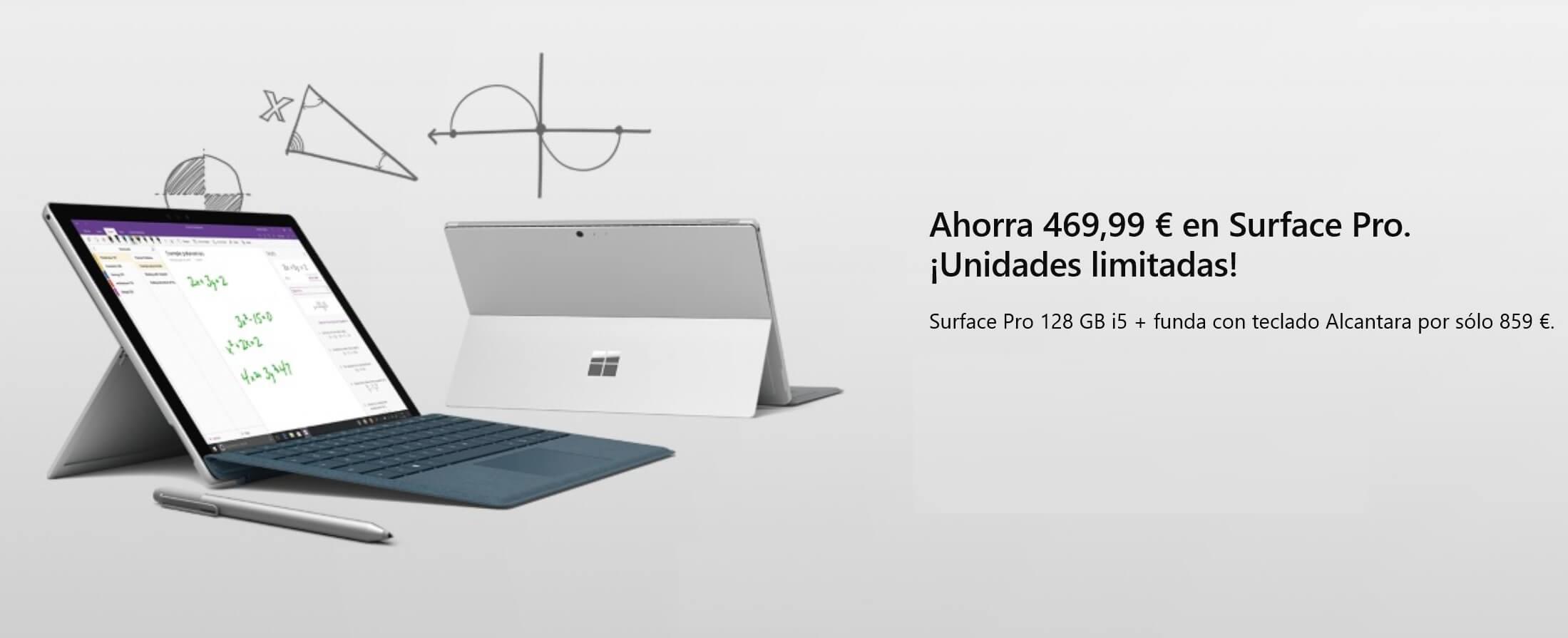 Surface Pro Intel i5, 128GB SSD y teclado Alcantara con un ahorro de 469.99€, ¡Unidades limitadas!