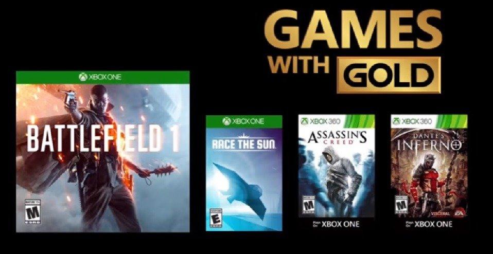 Los Games with Gold de Noviembre vienen con Battlefield 1 y Assassin's Creed