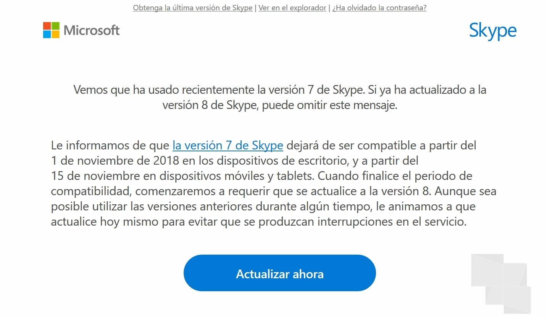 Skype aviso