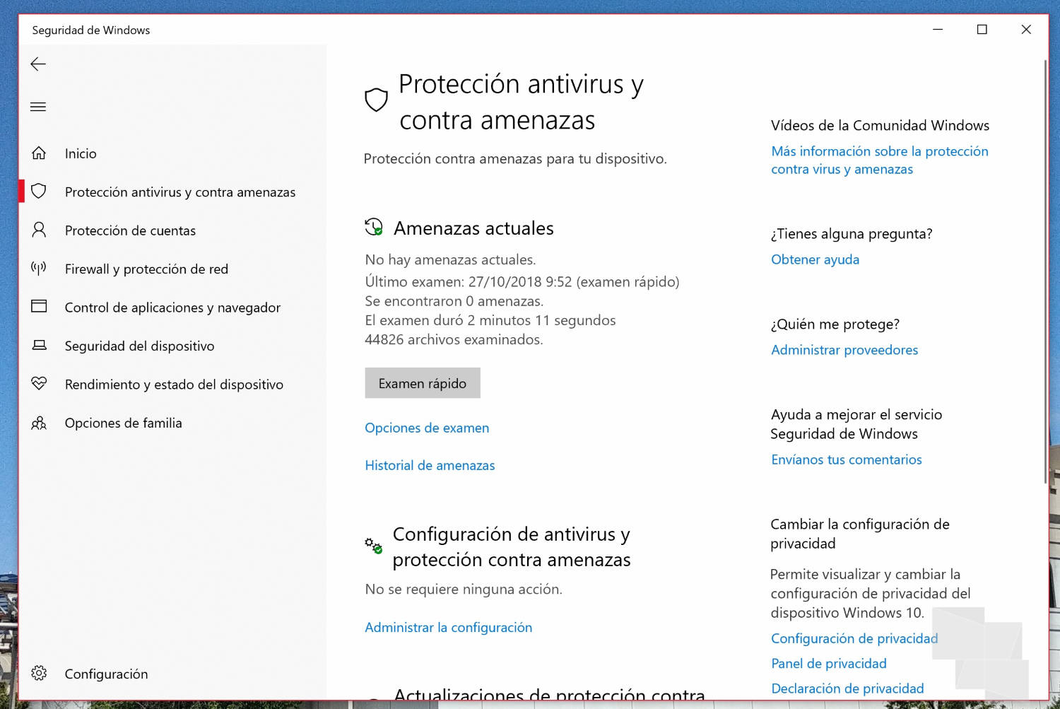 Habilita SandBox para Windows Defender en Windows 10