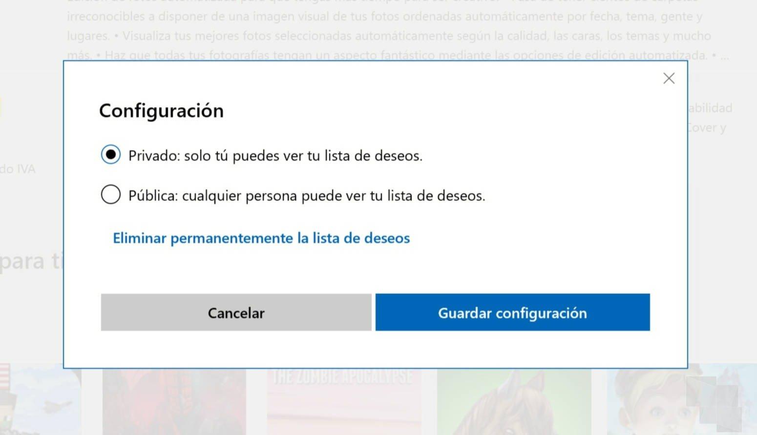 La lista de deseos comienza a llegar a la Tienda de Windows 10