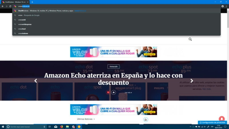 Google Chrome Canary en modo oscuro