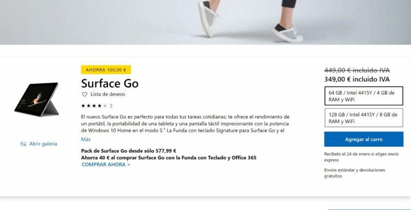 Surface Go con un descuento de 100€ en la Microsoft Store