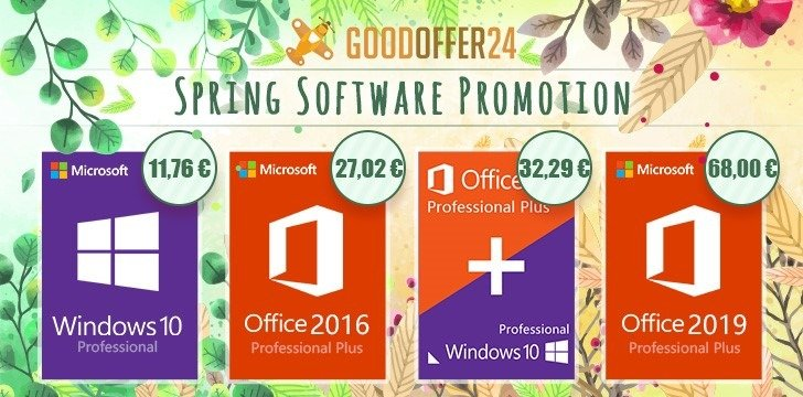Promoción de primavera en Goodoffer24: Windows 10 Pro y Office 2016 Pro por menos de 30 euros
