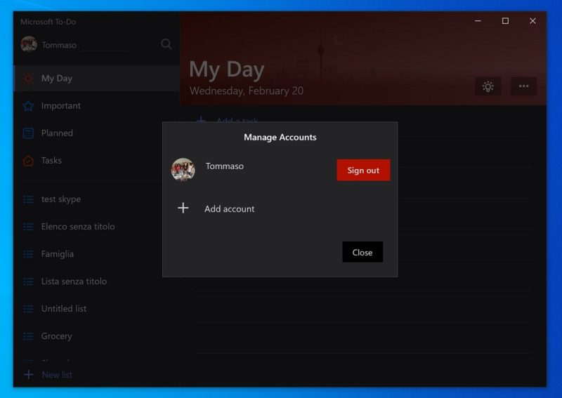 Microsoft To-Do ya permite usar varias cuentas en Windows 10