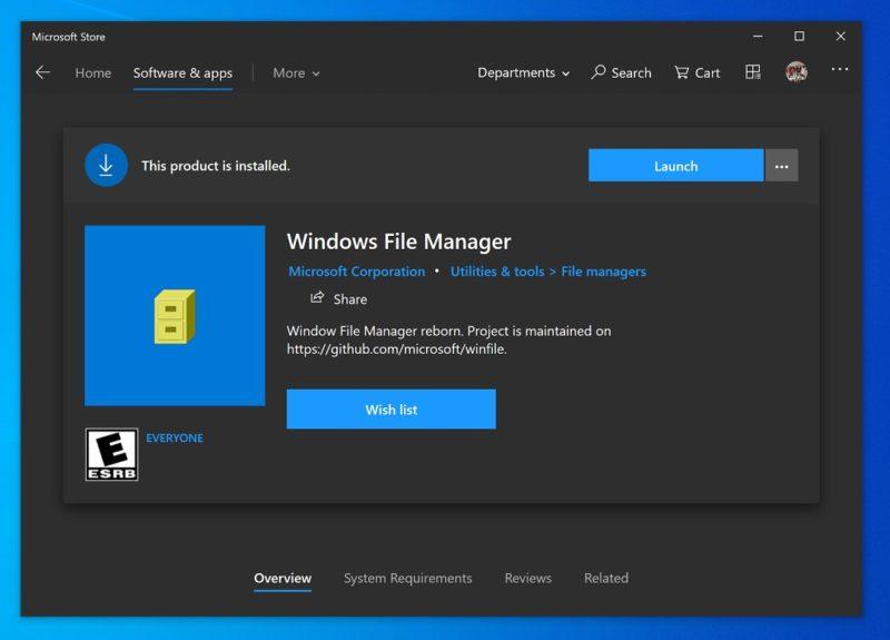 El explorador de archivos clásico de Windows, disponible en la tienda