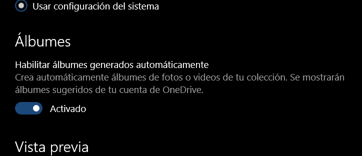 Fotos te permitirá deshabilitar los álbumes automáticos de Onedrive