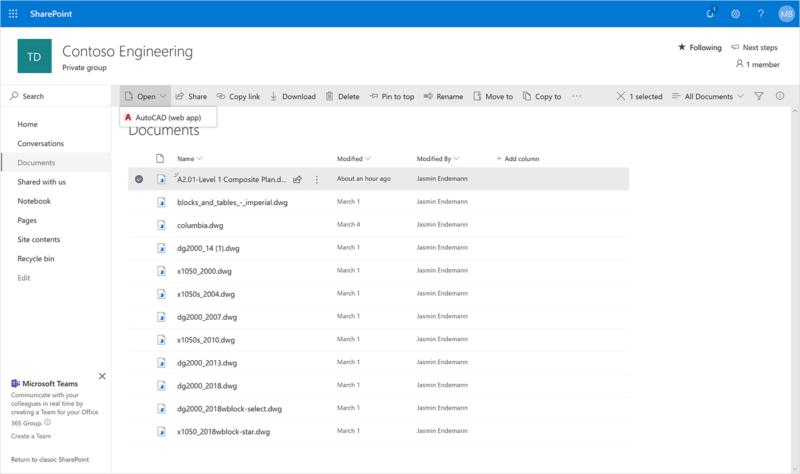 Microsoft anuncia integración de AutoCAD en OneDrive y SharePoint