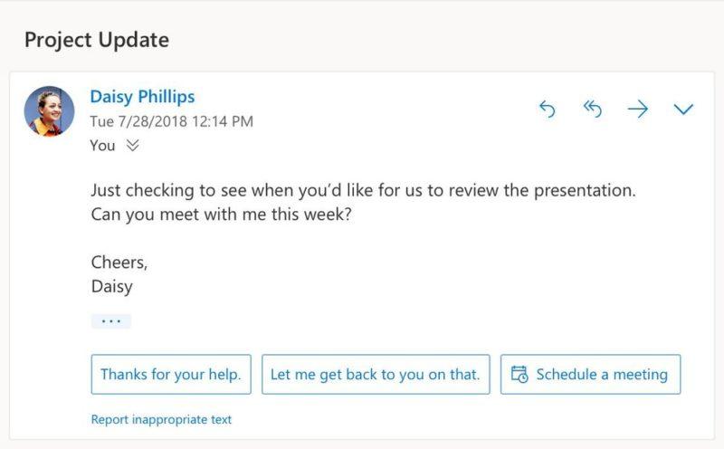 Nuevas funciones inteligentes llegarán a Outlook