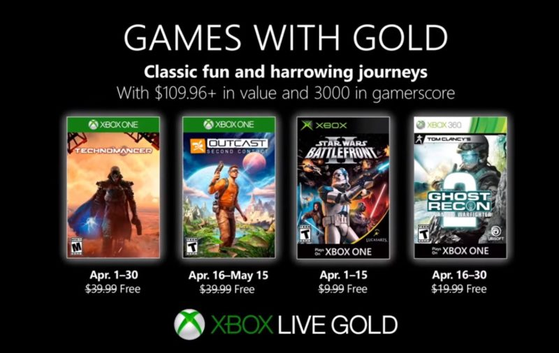 Estos son los Games with Gold para Abril