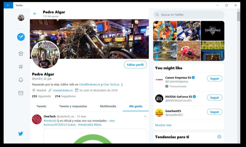 Twitter PWA actualiza su interfaz en Windows 10