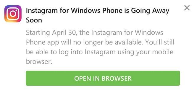 Instagram abandona Windows 10 Mobile
