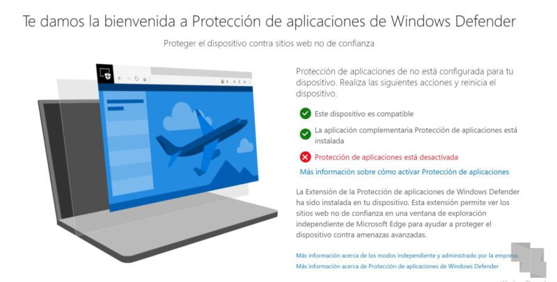 Extensión Protección de aplicaciones