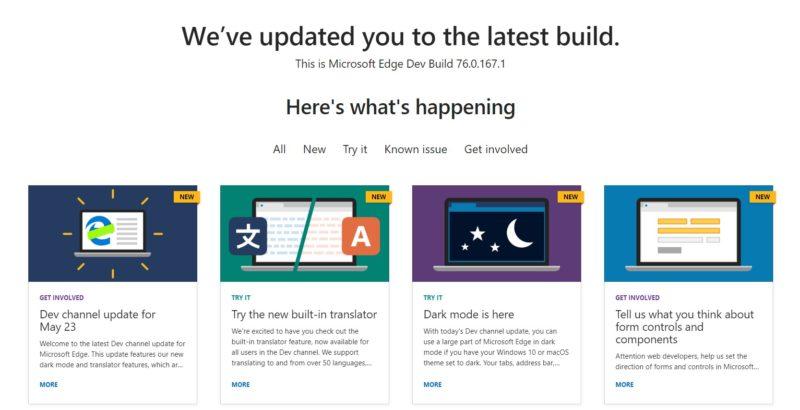 ¡Ahora sí¡ tenemos nueva versión de Edge Dev con varias mejoras