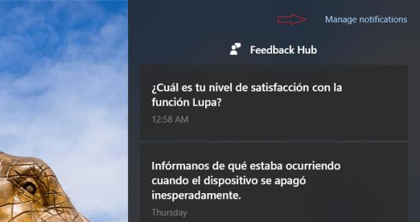Nuevo acceso a la configuración de notificaciones en el anillo rápido [Actualizado]