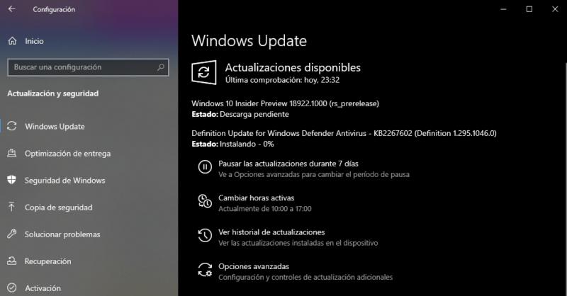 Microsoft lanza la Build 18922 para el anillo rápido