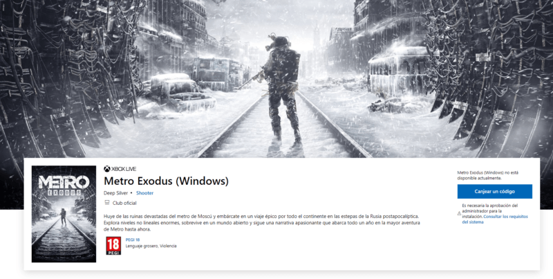 Metro Exodus disponible en la Tienda Windows como Xbox Game Pass para PC