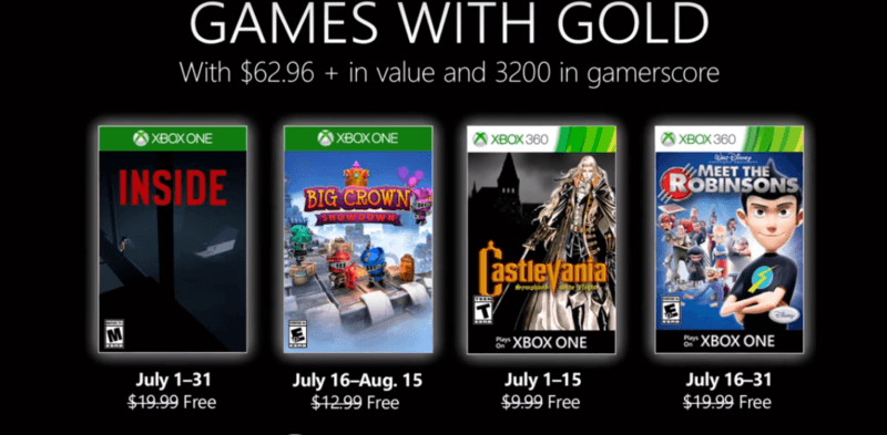 Estos son los Games with Gold para Julio de 2019