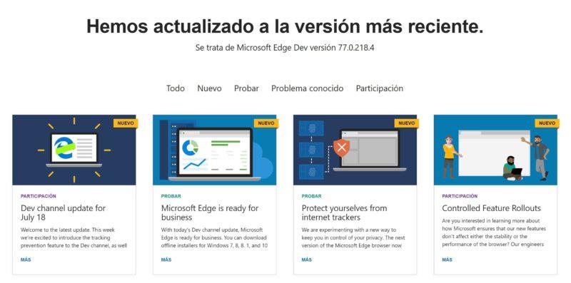 Microsoft Edge Dev añade el modo oscuro para Windows 7, 8 y 8.1