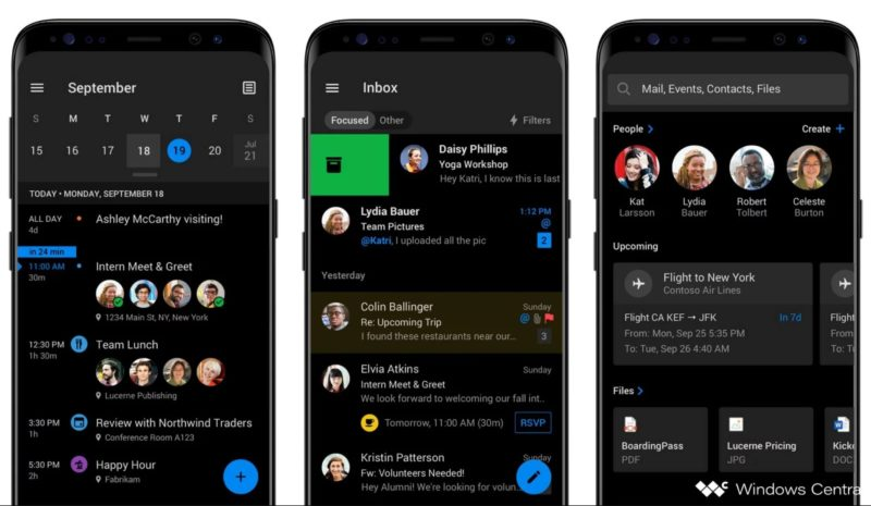 Así será el modo oscuro de Outlook en Android