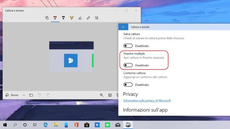 Anotación y Recorte te dejará elegir si usar o no múltiples ventanas