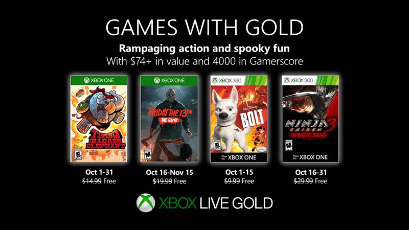 Estos son los Games with Gold de octubre en Xbox