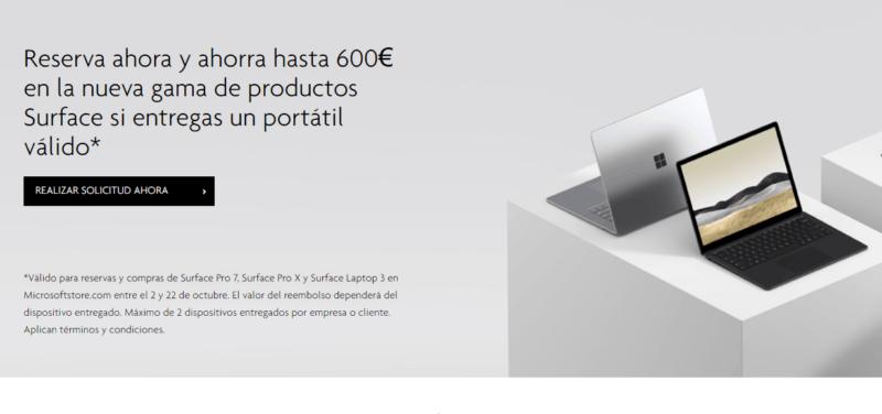 Ahorra hasta 600€ en los nuevos Surface si entregas tú viejo portátil