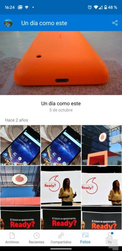 """""""Un día como este"""" nueva función de Onedrive para Android"""