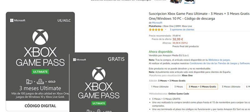 ¡Oferton! tres meses gratis de Xbox Game Pass Ultimate en Amazon con la compra de tres de pago