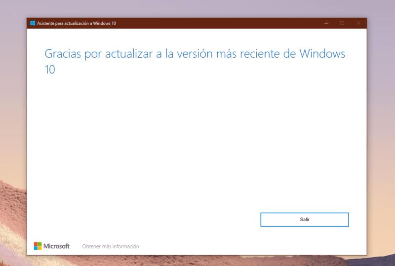 Instala Windows 10 November 2019 Update con el asistente de actualización