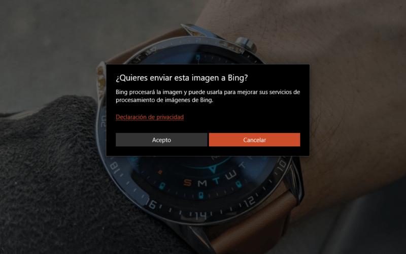 Fotos de Windows 10 añade un botón de Búsqueda en Bing