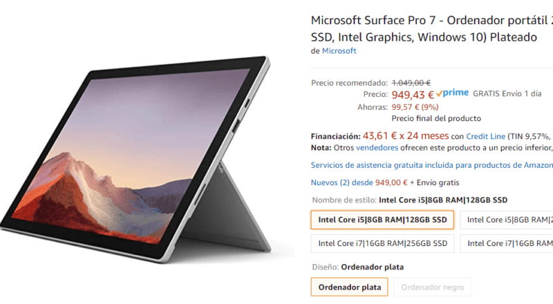 Casi 100€ de descuento para el Surface Pro 7 en Amazon