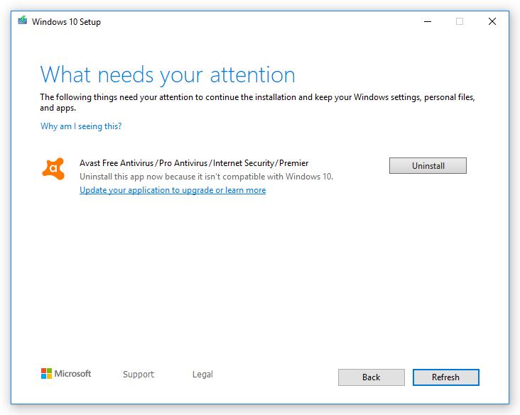 Si usas un antivirus AVG o Avast antiguos, no podrás actualizar a Windows 10 1909
