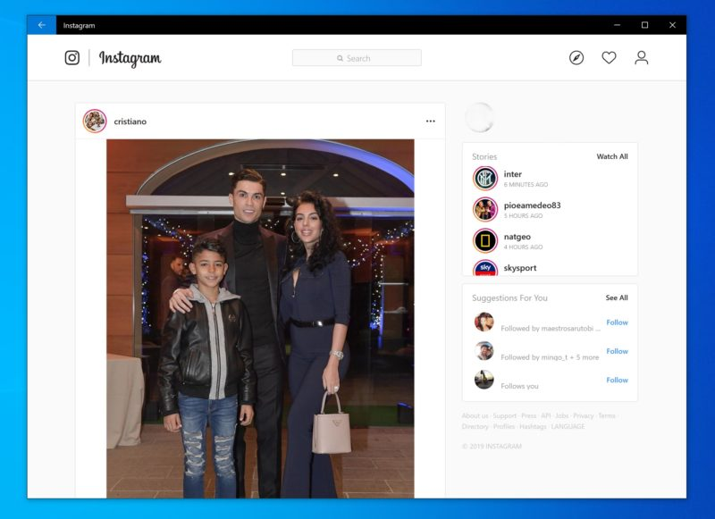 Instagram para Windows 10 se convierte en PWA