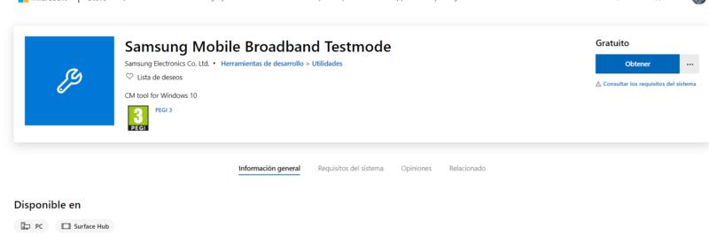Samsung Mobile Broadband Testmod, nueva app aparece en la tienda