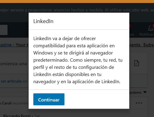 Windows 10 se queda sin aplicación de LinkedIn