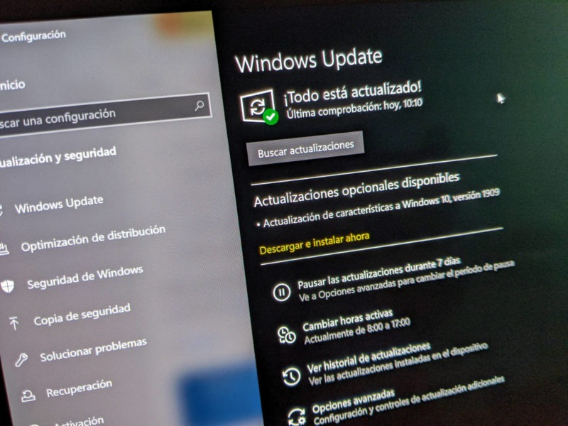Windows 10 November 2019 disponible para todas las búsquedas manuales