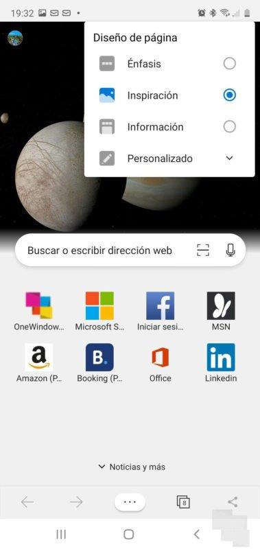Edge añade opciones de personalización con un nuevo menú en Android