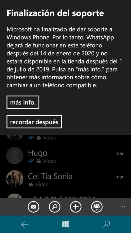 Hoy es el último día que podrás usar WhatsApp en Windows Phone [Actualizado, hasta 14 de Enero]