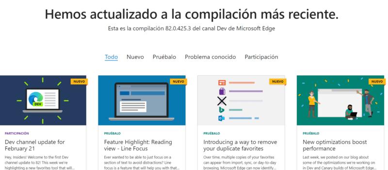 Microsoft Edge Dev se actualiza a la versión 82